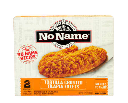 no name: RIVER FALLS,WISCONSIN-DECEMBER 23,2016: A box of No Name brand tortilla crusted tilapia fillets against a white background.