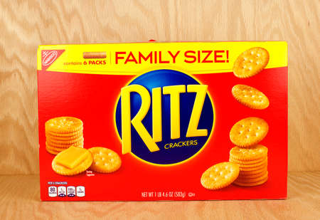 RIVER FALLS,WISCONSIN-MARCH24,2017: A box of Ritz brand snack crackers with a wood background.