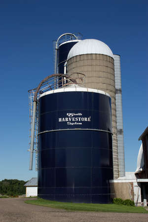 RIVER FALLS,WISCONSIN-SEPTEMBER 04,2017: A Harvestore grain silo on a Wisconsin dairy farm.