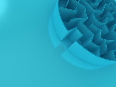 complex system: 3D Circular maze | Perspective Blue