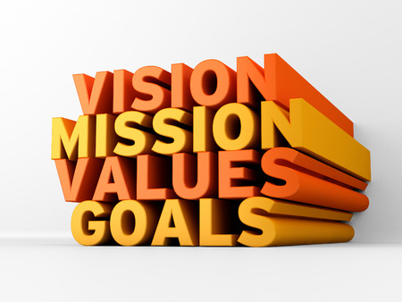 Vision, Mission, Values & Goals | 3D Text Stock Photo