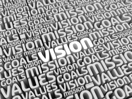 statement: Mission Vision Values Goals | Perspective 3D Typo | VISION in focus