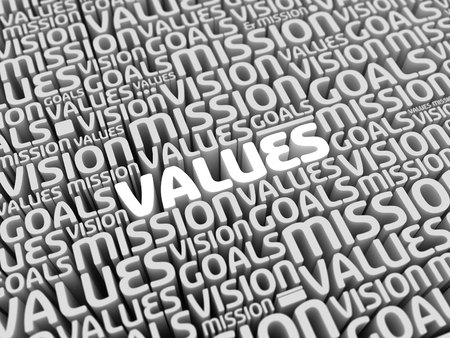 team vision: Mission Vision Values Goals | Perspective 3D Typo | VALUES in focus