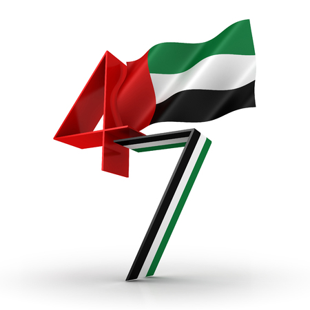 3D illustration of United Arab Emirates Flag Inspired Art for The National Day Celebrations with 47 Text with flag