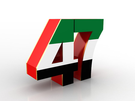 3D illustration of United Arab Emirates Flag Inspired Art for The National Day Celebrations with 47 Text Stock Photo
