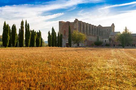 massa: San Galgano is a roofless Cistercian abbey in Tuscany, Italy