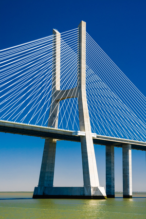 viaducts: The Vasco da Gama Bridge is a cable-stayed bridge and viaducts across the Tagus River in Lisbon, Portugal