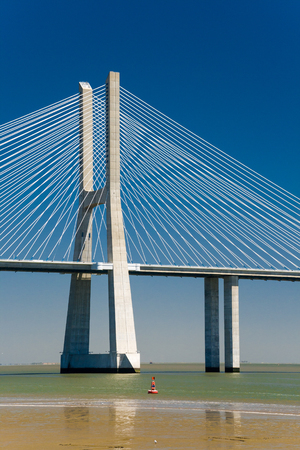 viaducts: The Vasco da Gama Bridge is a cablestayed bridge and viaducts across the Tagus River in Lisbon Portugal Stock Photo