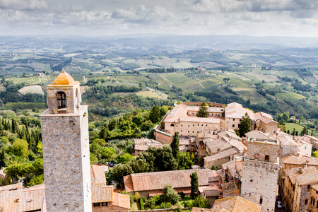 medioeval: San Gimignano is a small walled medieval hill town in the province of Siena, Tuscany, Italy