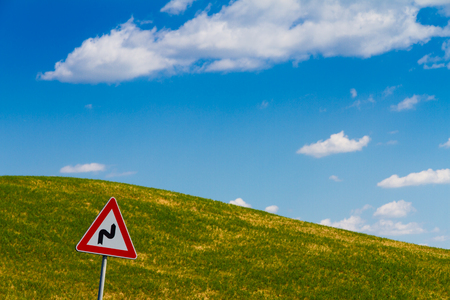 asciano: Road sign in tuscan countryside, Italy Stock Photo