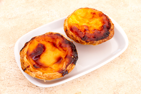 nata: Pastel de nata is a Portuguese egg tart pastry famous in the world Stock Photo