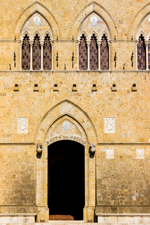 Siena, Italy - September 29, 2016:  Palazzo Salimbeni, headquarters of the Monte dei Paschi di Siena bank Editorial