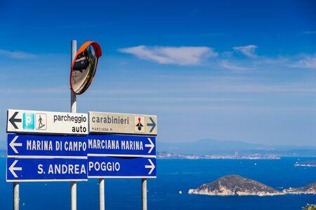 Street sign in summer in Elba Island Stock Photo