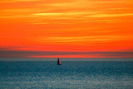 elba: Sunset in front of Elba Island, Italy
