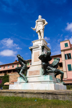 Leghorn, Italy - June 22, 2015: The Monument of the Four Moors (quattro mori) in Leghorn, Tuscany