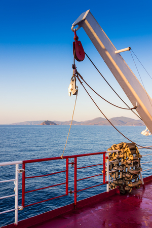 elba: Piombino channel crossing with ferry boat in summer Stock Photo