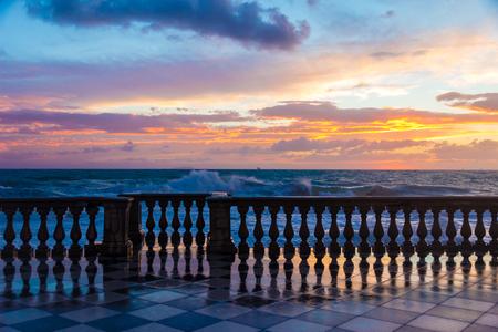livorno: Terrazza Mascagni a Livorno at sunset