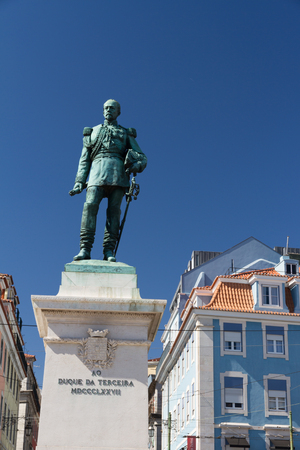 Cais do Sodre view in Lisbon, Portugal in a sunny late afternoon summer day