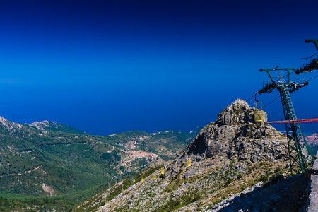 Cableway linking Marciana to monte Capanne in Elba island, Italy