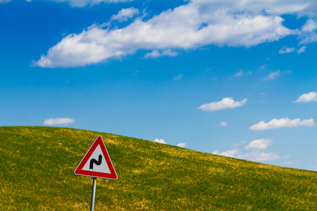 Road sign in tuscan countryside, Italy Stock Photo