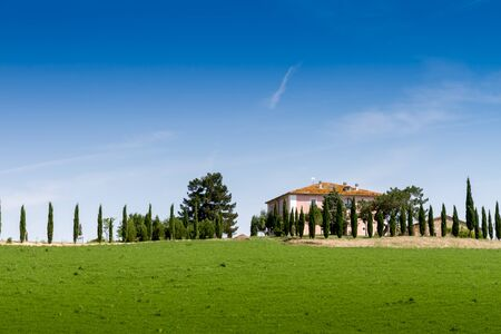 Country house with cypress on a hill near Siena in Tuscany, Italy