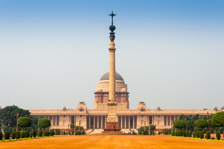 Rashtrapati Bhavan is the official home of the President of India, located at the Western end of Rajpath in New Delhi, India. Stock Photo