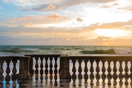 The Terrazza Mascagni is a wide sinuous, suggestive belvedere toward the sea in Leghorn, Italy