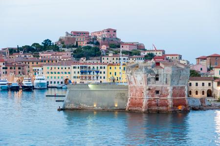 elba: Linguella tower and Medicean port of Portoferraio in Elba Island, Italy