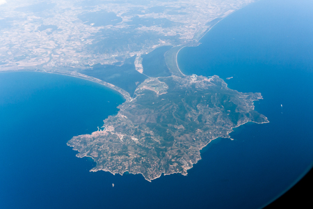 The Monte Argentario peninsula in Italy seen from above