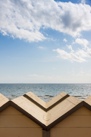Follonica beach and bathing huts in front of Thyrrenian sea, Italy Stock Photo