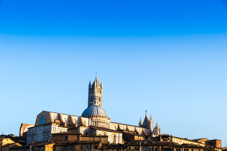 View of the old town of Siena with the Duomo, Italy Stock Photo