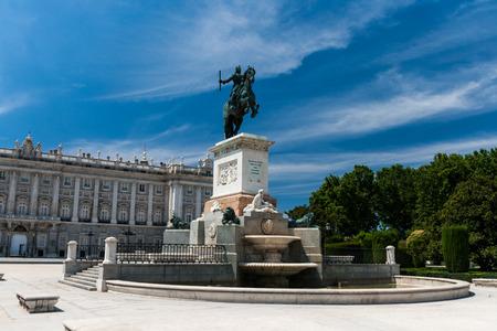 Plaza de Oriente in summer in madrid, Spain