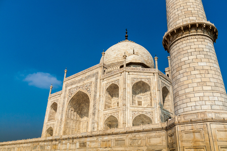 The Taj Mahal is an ivory-white marble mausoleum on the south bank of the Yamuna river in the Indian city of Agra