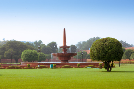 Fountain near Rashtrapati Bhavan, the official home of the President of India, located at the Western end of Rajpath in New Delhi, India.