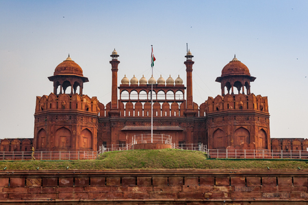 Particular of the Red Fort in the city of Delhi in India Фото со стока