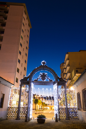 1840s Gate of the former ILVA Ironworks Complex in Follonica at Christmas time Stock Photo