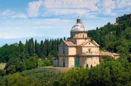 San Biagio is a Renaissance Greek cross central plan church outside Montepulciano, Tuscany, Italy Stock Photo