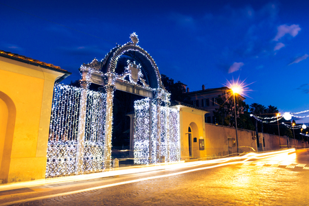 1840s Gate of the former ILVA Ironworks Complex in Follonica at Christmas time Editorial