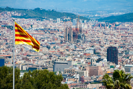 View of Barcelona as seen from the Montjuic Castle, Spain