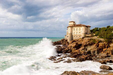 Leghorn, Italy - September 17, 2016: Castello del Boccale near Calafuria in a windy day