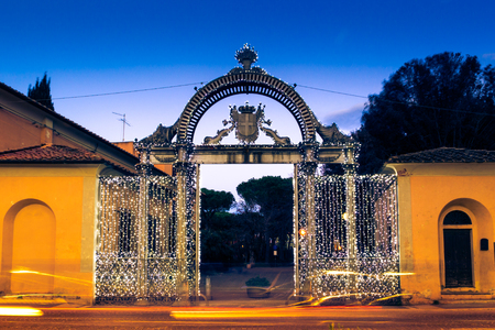 1840s Gate of the former Ironworks complex in Follonica at Christmas time Stock Photo