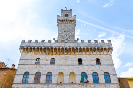 The Montepulciano city hall (1440) in the historical center, Tuscany, Italy
