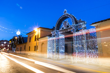 1840s Gate of the former Ironworks complex in Follonica at Christmas time Editoriali