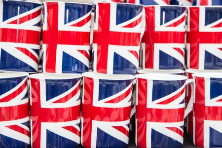 Array of  lined up english flag coffee mug Standard-Bild