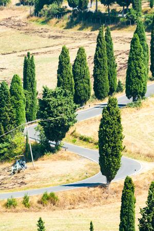 Winding road in summer near Pienza in Tuscany, Italy