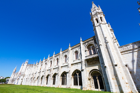 The Jeronimos Monastery (1465) is a former monastery near the Tagus river in Lisbon, Portugal