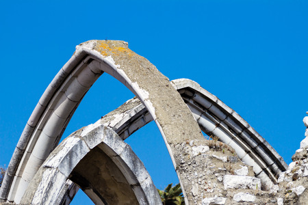 The Convento do Carmo (circa 1393) is a roofless church in Lisbon, Portugal, in summer
