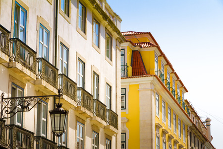 Roofs and windows in the historic center of Lisbon, Portugal