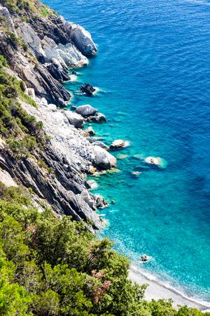 Elba island crystal sea water in the west coast in summer, Italy