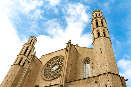 Santa Maria del Mar (1383) is an imposing church in the Ribera district of Barcelona, Spain